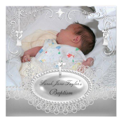 Baby-Taufe-Mädchen-Jungen-Taufsilber-Perle Personalisierte Ankündigungskarten