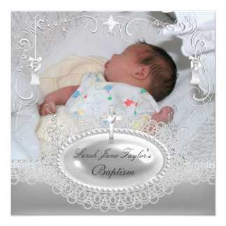 Baby-Taufe-Mädchen-Jungen-Taufsilber-Perle Quadratische 13,3 Cm Einladungskarte