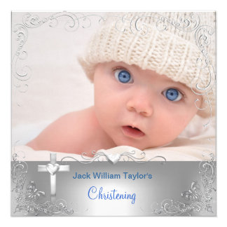 Baby-Taufe-Taufsilber-Kreuz Personalisierte Einladungen
