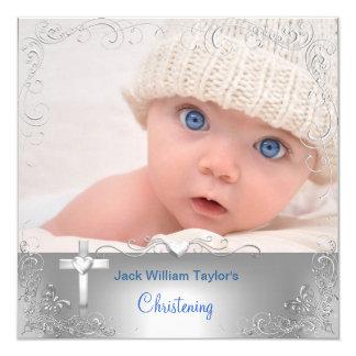 Baby-Taufe-Taufsilber-Kreuz Quadratische 13,3 Cm Einladungskarte