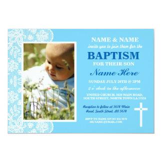 Baby-Tauftaufe-Jungen-blaue Foto-Einladung Karte