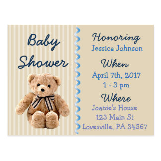 Baby-Teddybär-blaue Babyparty-Einladung Postkarte