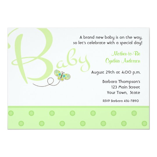 Baby Text Grün Babyparty Einladung Karte