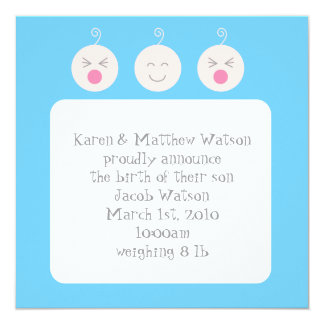 Baby Tic Tac Knirps-Geburts-Mitteilung - Blau Quadratische 13,3 Cm Einladungskarte