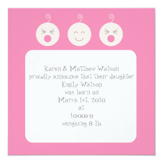 Baby Tic Tac Knirps-Geburts-Mitteilung - Rosa Quadratische 13,3 Cm Einladungskarte