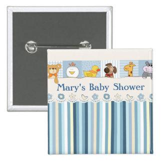 Baby-Tier-u. Streifen-Blau-Babyparty Quadratischer Button 5,1 Cm