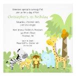 Baby-Tierdschungel-Geburtstags-Einladung