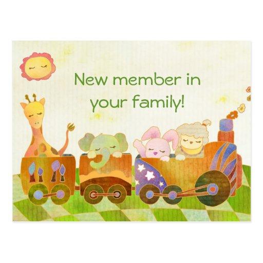 Baby-Tiere auf Choo Choo Zug: Neue Baby-Postkarte