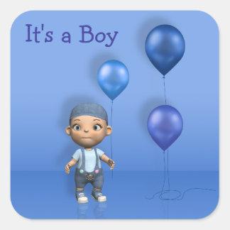 Baby u. blaue Ballone - es ist ein Quadratischer Aufkleber