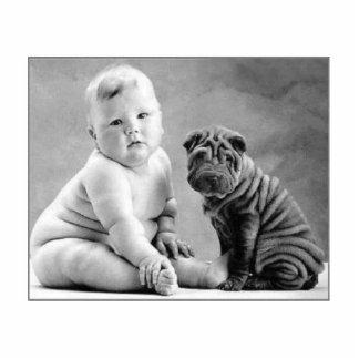 Baby und Hund Freistehende Fotoskulptur