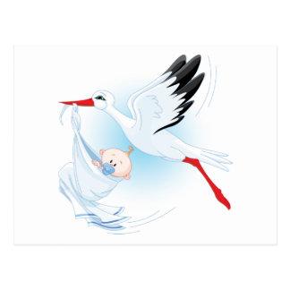 Baby und Storch Postkarte