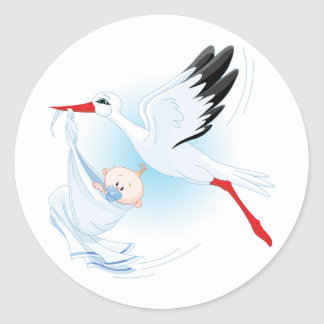 Baby und Storch Runder Aufkleber