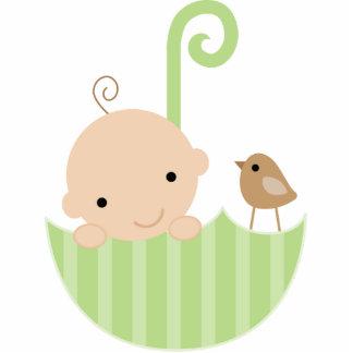 Baby und Vogel im Regenschirm-Kuchen-Deckel Freistehende Fotoskulptur