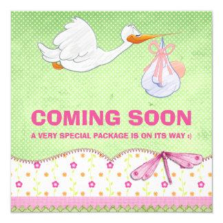 Baby-Vogel-Lieferungs-Schwangerschafts-Mitteilung Quadratische 13,3 Cm Einladungskarte