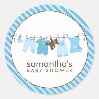 Baby-Wäscheleine blau Runder Aufkleber