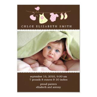 Baby-Wäscheleine-Geburts-Mitteilungen 12,7 X 17,8 Cm Einladungskarte