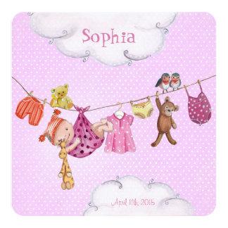 Baby-Wäscheleine Geburts-Mitteilungs-Mädchen Quadratische 13,3 Cm Einladungskarte