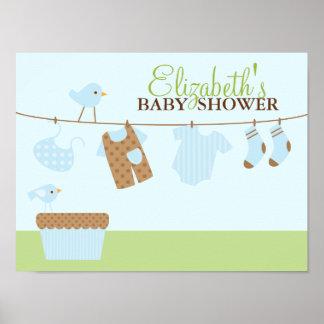 Baby-Wäscherei-Babyparty-Willkommensschild Poster
