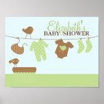 Baby-Wäscherei-Babyparty-Willkommensschild Posterdruck
