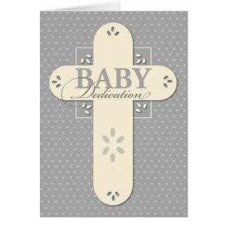 Baby-Widmungs-Creme u. graues Kreuz Karte