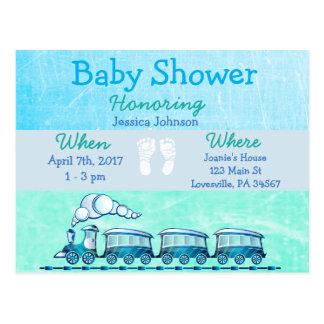 Baby-Zug-blaue Babyparty-Einladung Postkarte