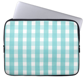 Babyblau-Ginghammuster Laptop Sleeve