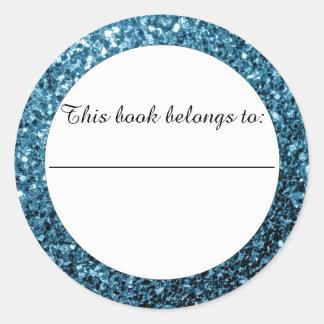 Babyblau-Glitter-Glitzern Buchzeichen-Aufkleber Runder Aufkleber