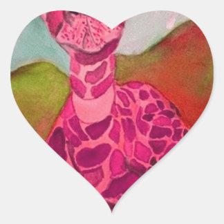 babygiraffe Herz-Aufkleber