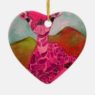 babygiraffe keramik Herz-Ornament