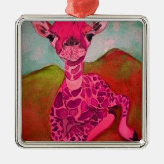 babygiraffe quadratisches silberfarbenes ornament