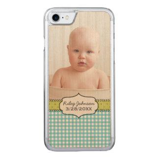 Babyjungen-Fotonamen- und -geburtstagsandenken Carved iPhone 8/7 Hülle