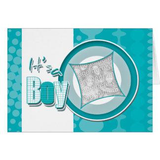 Babyjungen-Geburts-Foto-Kartenmitteilung Grußkarte