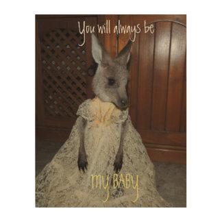 Babykänguruh-Babyplakat Holzleinwand