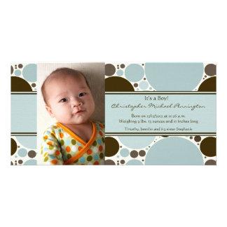 Babymitteilung des blauen und braunen modernen Pun Photo Karten Vorlage