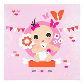 Babymitteilungs-Babyparty Quadratische 13,3 Cm Einladungskarte