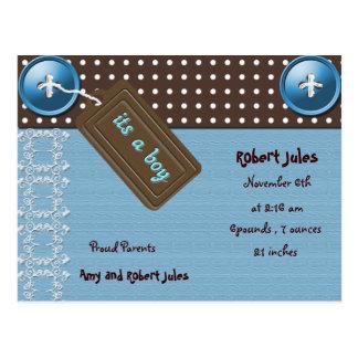 Babymitteilungspostkarte Postkarte