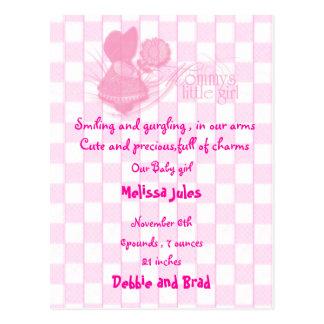 Babymitteilungspostkarte - Rosa Postkarte