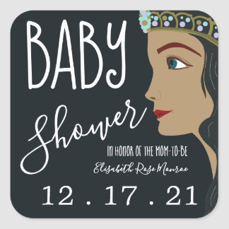 Babyparty-Abwehr Prinzessin-Blue das Datum Quadratischer Aufkleber