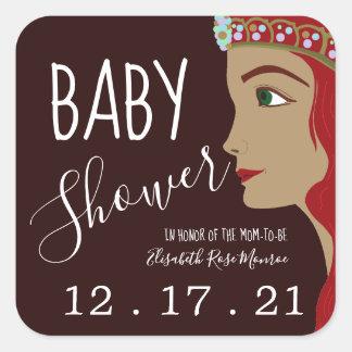 Babyparty-Abwehr Prinzessin-Red das Datum Quadratischer Aufkleber