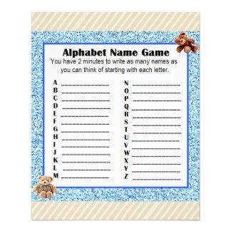 Babyparty-Alphabet-Name BINGO Spiel-Teddybär Flyer