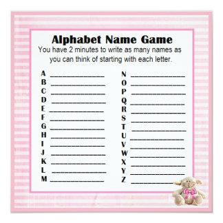 Babyparty-Alphabet-Namen-u. Bingo-Spiel-Rosa-Lamm Karte