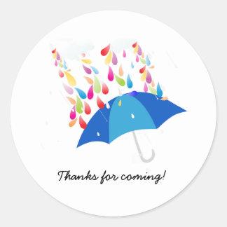 Babyparty-Aufkleber - blauer Regenschirm Runder Aufkleber