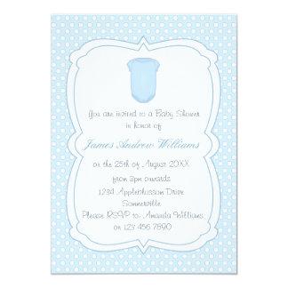 Babyparty blaue Tupfen und Babygrow 12,7 X 17,8 Cm Einladungskarte