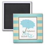 Babyparty - blauer Regenschirm und Streifen Magnete
