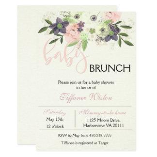 Babyparty-Brunch-Einladungs-rosa mit Blumenmädchen Karte