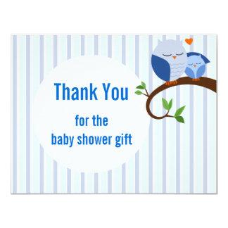 Babyparty-danken blaue Eulen-Ebene Ihnen 10,8 X 14 Cm Einladungskarte