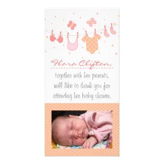 Babyparty danken Ihnen: Babykleidung auf Fotokarte