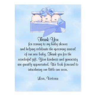 Babyparty danken Ihnen, die es Dreiergruppe-Junge Postkarte