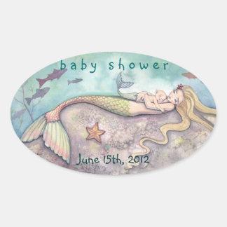 Babyparty-Datums-Aufkleber-Meerjungfrau und Baby