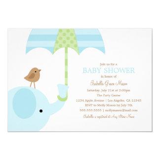 Babyparty des Baby-Blau-Elefant-| laden ein 12,7 X 17,8 Cm Einladungskarte